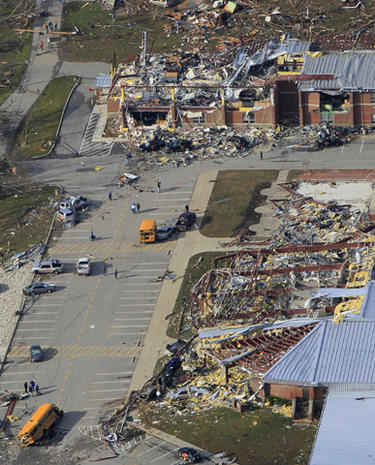 Aerial views of tornado damage