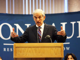 Republican presidential candidate Rep. Ron Paul, R-Texas, addresses a gathering of supporters at a rally on Tuesday, March 6, 2012 in Nampa, Idaho.