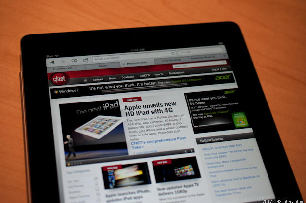 Checking out CNET's site on the new iPad.