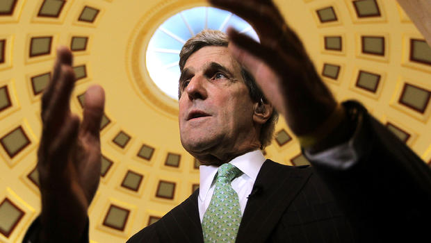 Sen. John Kerry, D-Mass., speaks to reporters Nov. 21, 2011, on Capitol Hill in Washington.