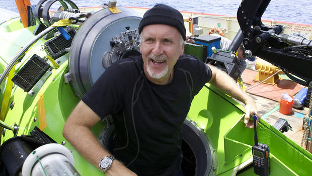 James Cameron emerges from the Deepsea Challenger submersible after his successful solo dive to the Mariana Trench