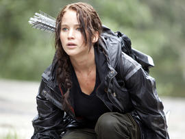 "Actress Jennifer Lawrence in the movie ""The Hunger Games"""