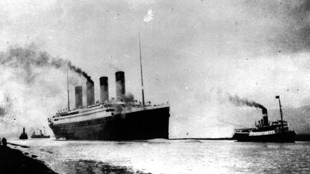 Titanic sails out of Southampton, England, April 10, 1912