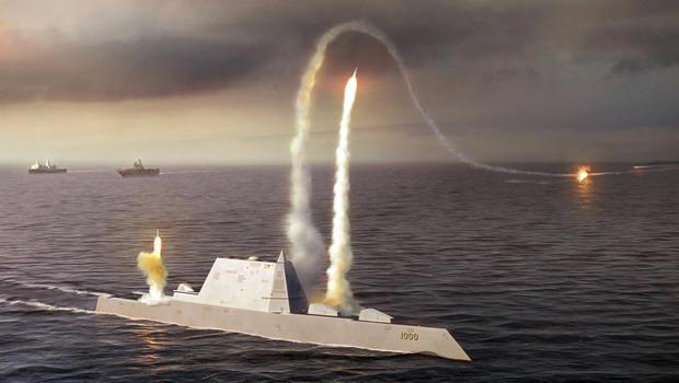 U.S. Navy Building A Cutting Edge Stealth Destroyer In Maine   CBS News