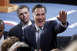 Mitt Romney greets supporters