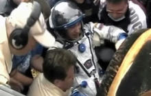 On tape: Astronauts emerge from Soyuz capsule