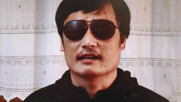 In this image made from video, blind legal activist Chen Guangcheng is seen on a video posted to YouTube Friday, April 27, 2012 by overseas Chinese news site Boxun.com.