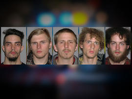 Photos provided by the FBI show, from left to right, Douglas Wright, Brandon Baxter, Anthony Hayne, Joshua Stafford and Connor Stevens, all of whom were arrested April 30, 2012, and accused of plotting to blow up a bridge near Cleveland.