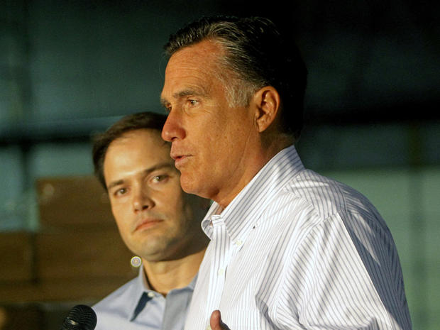 Mitt Romney, right, with Marco Rubio