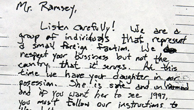 JonBenet Ramsey ransom note: Section of the first of three pages
