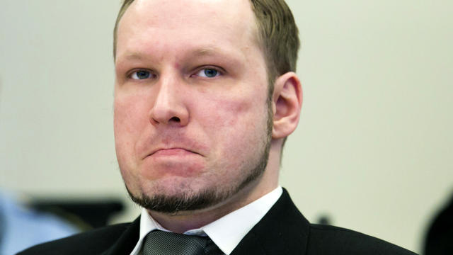 Anders Behring Breivik sits in a courtroom in Oslo, Norway, May 3, 2012.