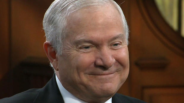 Former Secretary of Defense Robert Gates is seen in an interview with Charlie Rose.