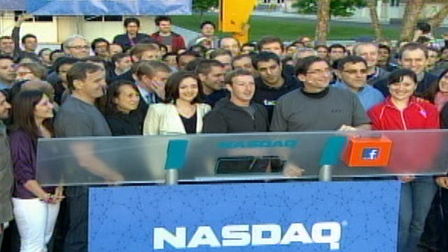 CEO Mark Zuckerberg and others from Facebook on morning company went public. Zuckerberg rang NASDAQ opening bell from stage in company's campus in Silicon Valley, Calif.