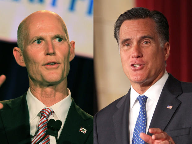 Florida Governor Rick Scott and Republican presidential candidate Mitt Romney