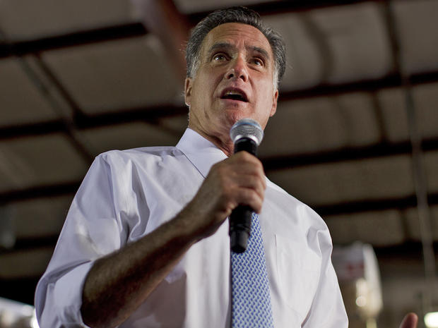 Mitt Romney speaks during a campaign stop at Southwest Office Systems