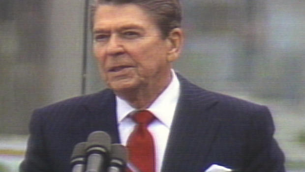 "President Ronald Reagan delivers his famous ""tear down this wall"" speech in Berlin, June 12, 1987."