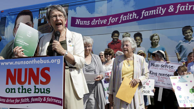 Sister Simone Campbell, executive director of Network, speaks during a stop on the first day of a nine-state Nuns on the Bus tour June 18, 2012, in Ames, Iowa.