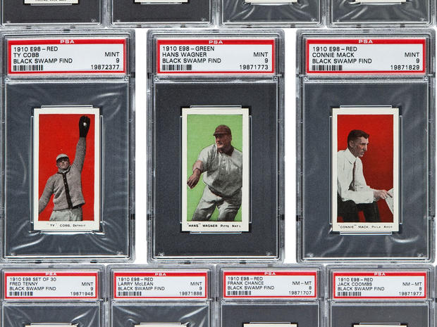 An undated photo of a few of the 1910 baseball cards found in an Ohio attic.