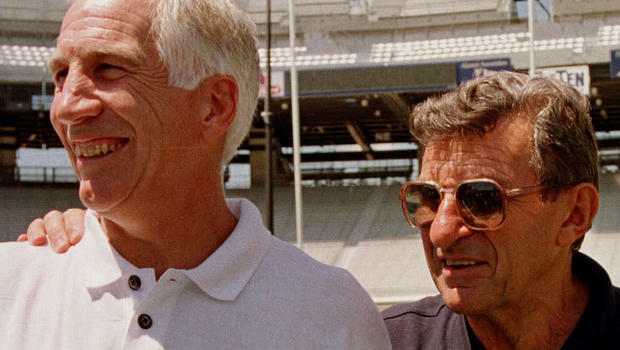 August 1999 file photo shows Penn State head football coach Joe Paterno, right, posing with his defensive coordinator, Jerry Sandusky, in State College, Pa.
