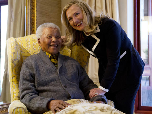 Secretary of State Hillary Rodham Clinton meets with former South Africa President Nelson Mandela, 94, at his home in Qunu, South Africa, Aug. 6, 2012.