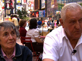 George Mendonsa and Greta Friedman at scene of classic George Eisenstaedt photo taken in Times Square on VJ Day in 1945