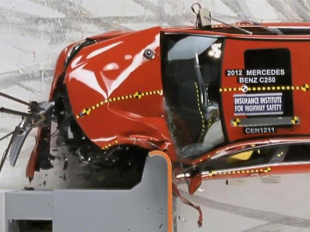 2012 Mercedes C250 during off-center frontal crash test