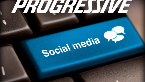 Progressive logo over Social Media button on a keyboard with speech bubbles.