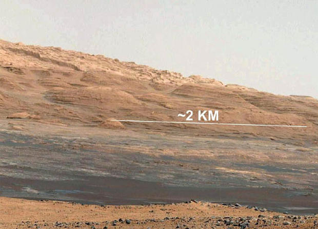 "This image (cut out from a mosaic) shows the view from the landing site of NASA's Curiosity rover toward the lower reaches of Mount Sharp, where Curiosity is likely to begin its ascent through hundreds of feet (meters) of layered deposits. The lower several hundred feet (meters) show evidence of bearing hydrated minerals, based on orbiter observations. The terrain Curiosity will explore is marked by hills, buttes, mesas and canyons on the scale of one-to-three story buildings, very much like the Four Corners region of the western United States.  A scale bar indicates a distance of 1.2 miles (2 kilometers).  Curiosity's 34-millimeter Mast Camera acquired this high-resolution image on Aug. 8, 2012 PDT (Aug. 9 EDT).  This image shows the colors modified as if the scene were transported to Earth and illuminated by terrestrial sunlight. This processing, called ""white balancing,"" is useful to scientists for recognizing and distinguishing rocks by color in more familiar lighting.  Image credit: NASA/JPL-Caltech/MSSS"