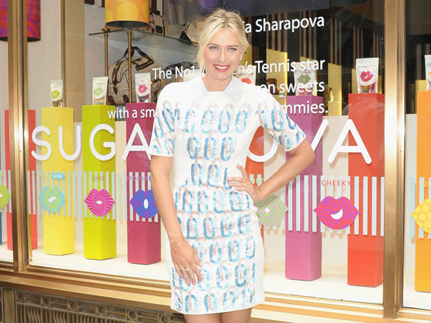Tennis star Maria Sharapova appears for the launch of Sugarpova candy Aug. 20, 2012, in New York.
