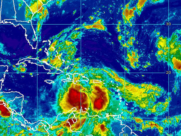 Satellite image of Tropical Storm Isaac swirling over Caribbean early Friday, Aug. 24, 2012
