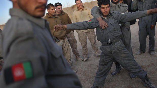 Afghan National Police trainees with U.S. Marines