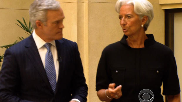 CBS News' Scott Pelley and Christine Lagarde discuss Spain and the struggling global economy at the IMF chief's Washington headquarters.