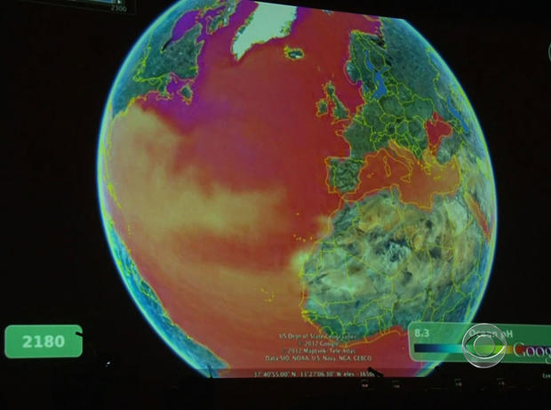 This map, produced by Google and scientists, shows the expected rise in ocean acid levels.