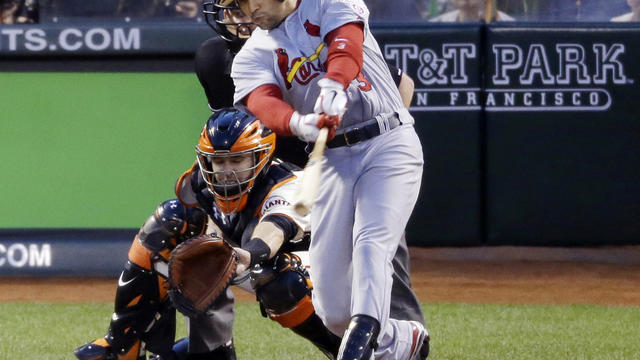 St. Louis Cardinals' Carlos Beltran connecting for two-run homer in fourth inning Sunday night