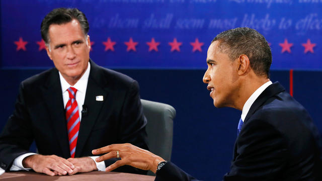 Republican presidential nominee Mitt Romney listens to President Barack Obama speak during the third presidential debate at Lynn University, Monday, Oct. 22, 2012, in Boca Raton, Fla.