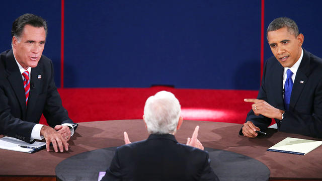 Image from third and final presidential debate shows moderator Bob Schieffer, of CBS News, with back to camera, Mitt Romney on left and President Obama on right