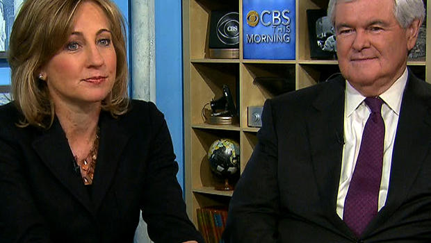 """Former White House press secretary Dee Dee Myers and former House Speaker Newt Gingrich are seen on """"CBS This Morning"""" Nov. 6, 2012."""