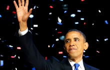 Obama celebrates election win