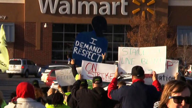 Walmart workers want an increase in minimum hourly pay, more full-time work and less-expensive health care.