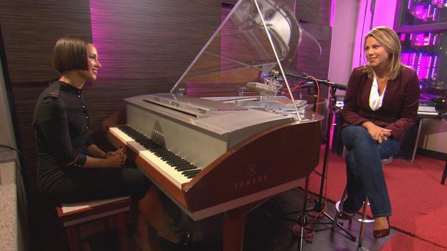 Lara Logan, left, interviews Grammy-winning singer Alicia Keys in her personal recording studio