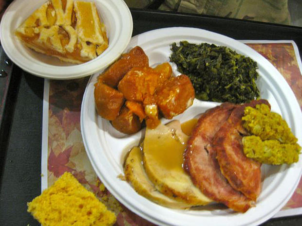 Thanksgiving dinner, as served up to U.S. troops based at Camp Kaia