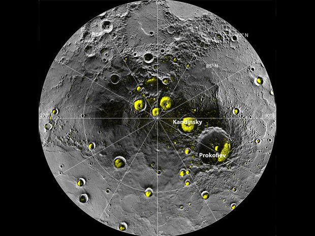 The radar image of Mercury's north polar region from Image 2.1 is shown superposed on a mosaic of MESSENGER images of the same area. All of the larger polar deposits are located on the floors or walls of impact craters.