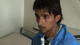 This Syrian soldier, being treated at a hospital, says the protesters are Islamist terrorists.