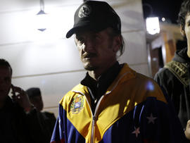 Actor Sean Penn participates in a vigil for Venezuelan President Hugo Chavez in La Paz, Bolivia, Dec. 10, 2012.