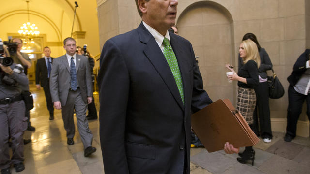 House Speaker John Boehner walks to his office on Capitol Hill in Washington Jan. 1, 2013.