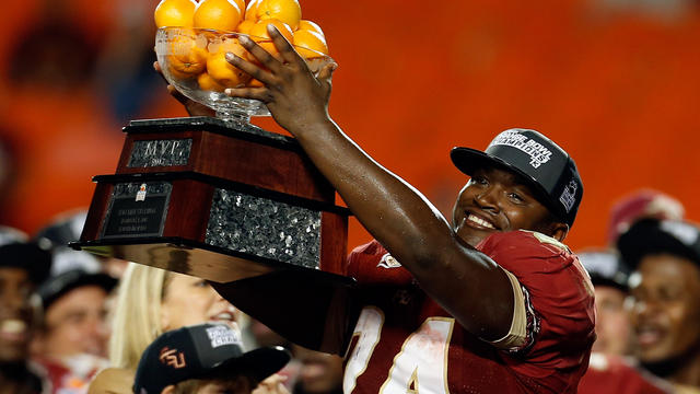 Orange Bowl MVP Lonnie Pryor #24 of the Florida State Seminoles celebrates