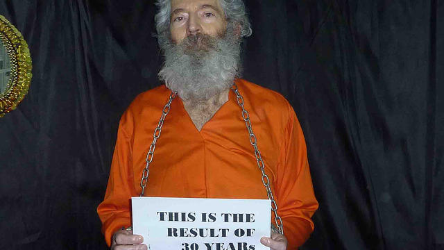 Retired FBI agent Robert Levinson seen captive in this undated photograph.undated