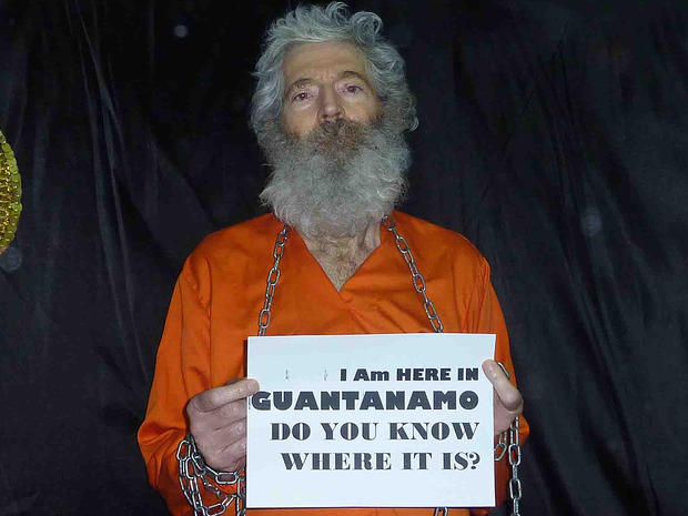 Retired FBI agent Robert Levinson seen captive in this undated photograph.