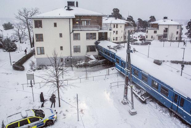 Stolen train crashes into homes in Sweden