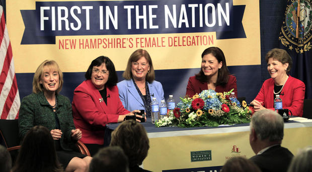 The five women holding New Hampshire's top political offices, from left, Gov.-elect Maggie Hassan, U.S. Reps.-elect Ann McLane Kuster and Carol Shea-Porter, and U.S. Sens. Kelly Ayotte and Jeanne Shaheen discuss what their lives are like as female politicians during a panel discussion Friday Dec. 7, 2012 at the Institute of Politics at Saint Anselm College in Manchester, N.H.